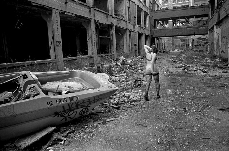 Fashion shoot in the abandoned Packard plant, Detroit Michigan.