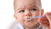 Angry baby eating