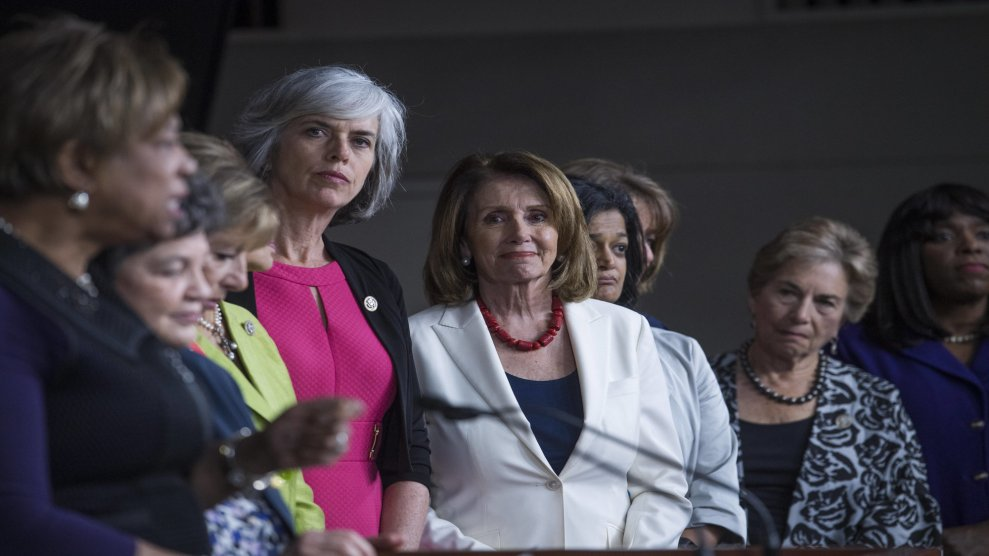 Nancy Pelosi, center, with other Democratic congresswomen at a June press conference denouncing President Trump's derogatory tweets about women.