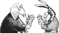 """Pen and ink style illustration of a democrat donkey and a republican elephant taking a poll. Layered and grouped for easy color edits. Scale to any size. Check out my """"Social Issues"""" light box for more political views."""
