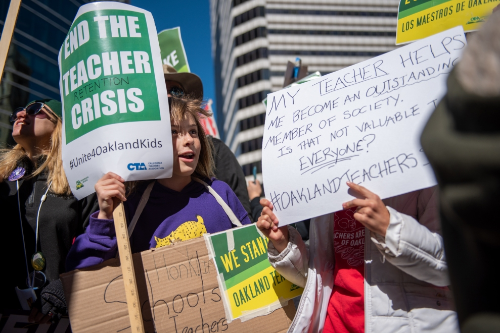 Young supporters joined their teachers at the march.