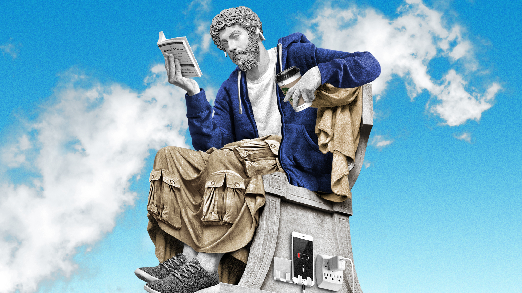 """A Greek statute wearing AirPods reads """"the Daily Stoic"""" while sipping Starbucks."""