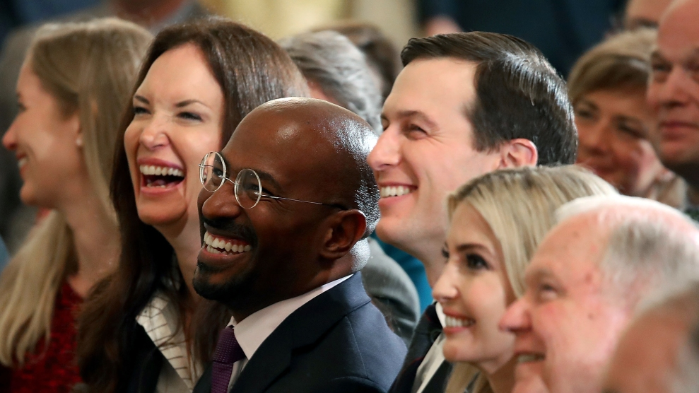 Van Jones sitting next to Jared Kushner and Ivanka Trump