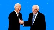 Bernie and Biden shaking hands