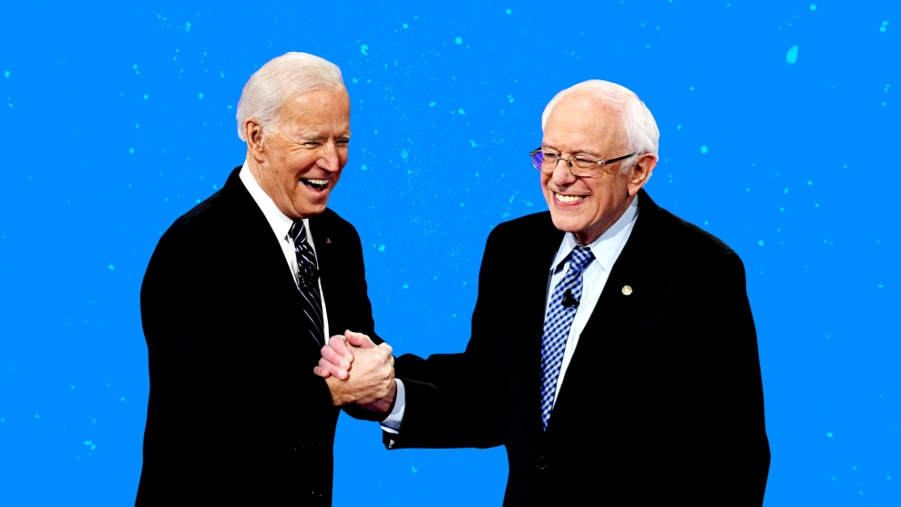 Bernie and Biden shaking hands