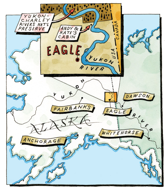 map of alaska with eagle