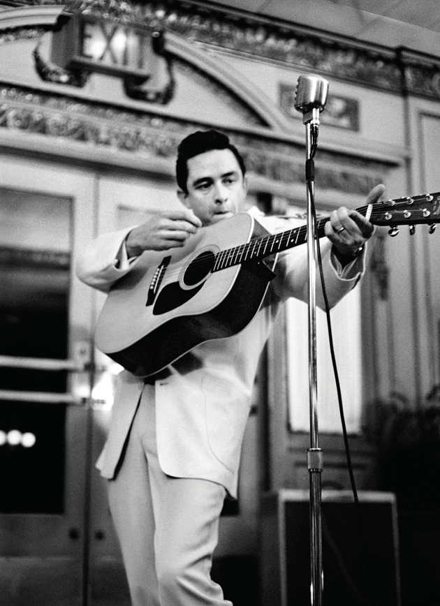 Debuting songs from The Fabulous Johnny Cash at a Nashville press party, February 1959