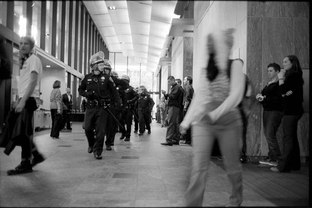 Police respond to an Occupy protest at BofA in San Francisco.