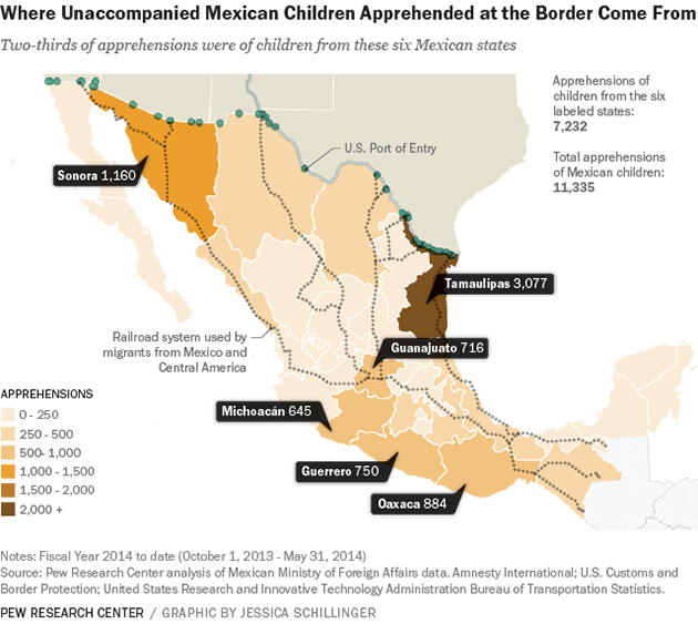Mexican child migrant map