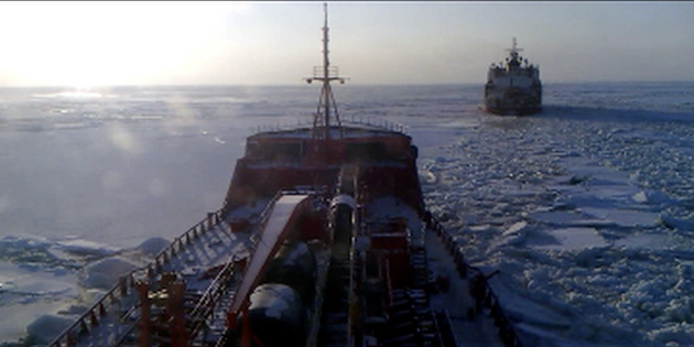 The Russian tanker Renda steaming in the wake of USCGC Healy in the Bering Sea.  Image courtesy of the United States Coast Guard
