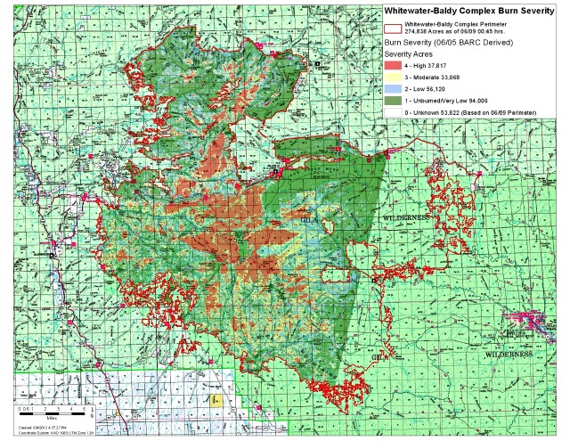 Whitewater-Baldy Complex burn severity map as of 9 June 2012 (click for larger version): Brian Park | USFS