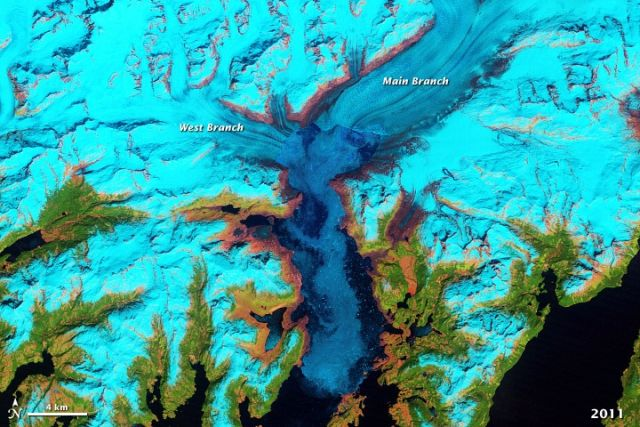 Columbia Glacier in 1986 (top) and 2011 (bottom): NASA