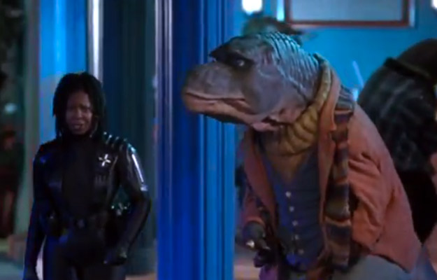 Much like Whoopi and Teddy in the cinematic classic Theodore Rex. Screenshot: YouTube