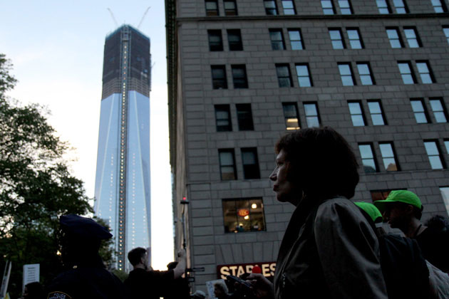 Marching past the Freedom Tower to be: James West