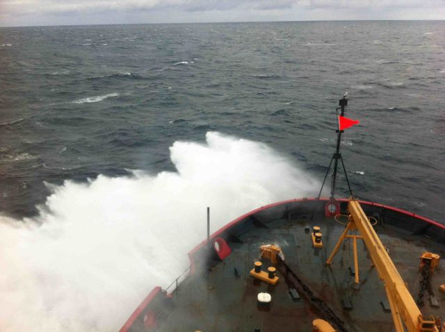 View from the Bridge of the deck of Healy in the Arctic Ocean. Julia Whitty
