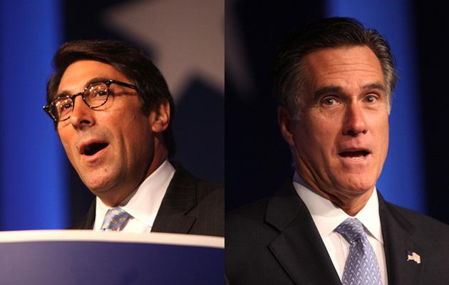 Jay Sekulow, left, and Mitt Romney. Flickr/Gage Skidmore
