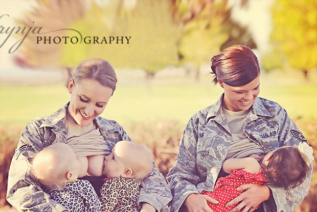 Weapons of mass distraction: Air Force Sgt. Terran Echegoyen McCabe and Staff Sgt. Christina Luna feed their babies in uniform Brynja Sigurdardottir