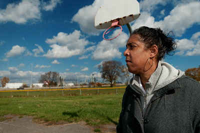 """""""It's like a Frankenstein lab experiment,"""" 48217 resident Theresa Landrum says of living with air pollution from the Marathon refinery.   Kirk Allen"""