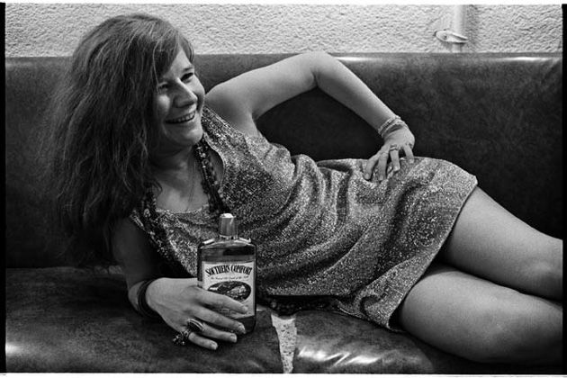 Janis Joplin backstage at Winterland in San Francisco, 1968