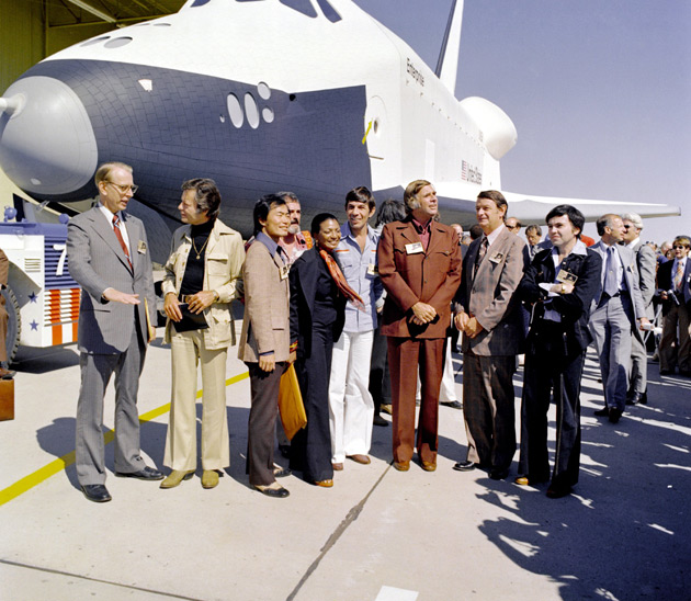 Star Trek crew with space shuttle